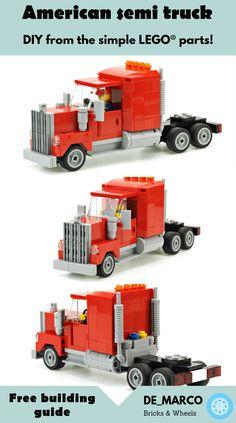 American semi truck building guide created by - Trend Animals Lego 2019 Semi Trucks, Lego Taxi, Legos, Lego Cars Instructions, Lego London, Diy Lego, Lego Creator Sets, Lego Furniture, Lego Truck