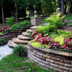 Retaining Wall./ like the steps  flat tops on the wall