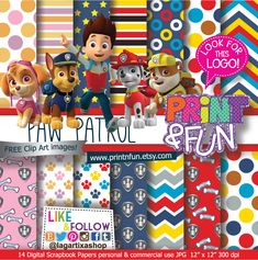 Paw Patrol Digital Paper Patterns and FREE Clip art - Digital Papers and more!