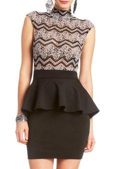 2B Lace Top Scuba Peplum Dress