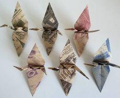 Origami Dragon, Origami Bird, Origami Cranes, Origami Paper, Diy Paper, Kraft Paper, Paper Cranes, Origami Blade Runner, Vintage Fashion
