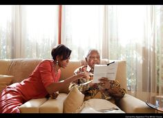 First Lady Michelle Obama meets with former President Nelson Mandela of South Africa at Mandela's home in Houghton, South Africa, June 21, 2011. (Official White House Photo by Samantha Appleton)