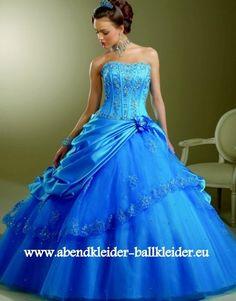 Prinzessin Abend - Ballkleid Online in Hell Blau