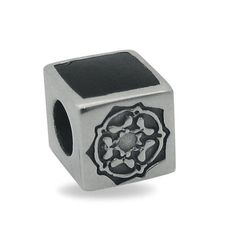 Sterling Silver Whitby Jet Two Stone Rose Cube Charm Yorkshire Rose, Jewelry Packaging, Fashion Bracelets, Cube, Jet, Two By Two, Decorative Boxes, Pandora, Carving