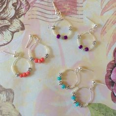 """Beaded hoop dangle earrings in three color choices- pick 1, 2, or all 3 for girls and/or American Girl and other 18"""" dolls by BFFandMEJewelry on Etsy"""