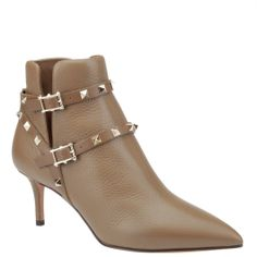 Valentino Garavani, rockstud ankle boots in brown leather. shop.wunderl.com