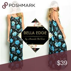 Black aqua floral maxi dress 100% POLYESTER. This darling maxi dress features bold aqua blue floral print over goes-with-everything black fabric. Loose, relaxed fit. Sizes small to medium Bella Edge Boutique  Dresses Maxi