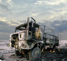 Torched. A demolished and burned-out Iraqi IFW W50 truck in the Euphrates River Valley in the aftermath of Operation Desert Storm. March, 1991.