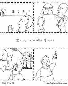Download these free sequenced story sheets to teach children how God saved Daniel from the Lion's Den. The first page shows the events from Daniel 6 in storyboard illustrations. Have the children c...