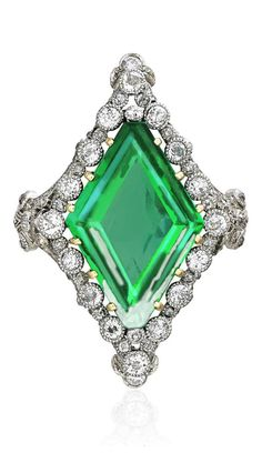 A BELLE EPOQUE NATURAL COLUMBIAN EMERALD AND DIAMOND RING, 1910S. Set with a lozenge-shaped emerald, weighing approximately 5.53 carats, to the diamond-set gallery of garland design.