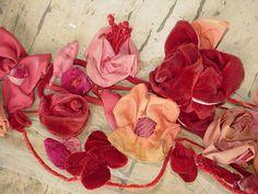 Antique Victorian Ribbonwork Roses Velvet by SimplyCottageChic