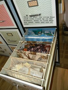 Storing scraps sorted by color! Tutorial: hanging bags to fit inside of a file drawer. Fabrics are folded onto hanging files. Sewing Room Design, Sewing Room Storage, Sewing Room Organization, My Sewing Room, Craft Room Storage, Fabric Storage, Sewing Rooms, Craft Rooms, Storage Ideas