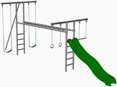 Extremo Metal Swing Set With Slide