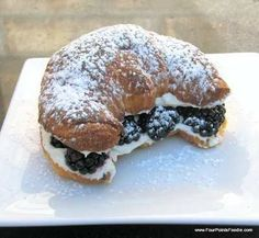 A delish stuffed croissant with a pretty presentation!   try it!