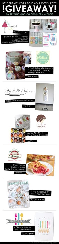 $500 in products giveaway at Best Friends For Frosting.  Items from The TomKat Studio, Sucre & Spice, Sweet Paul Magazine, Ice Milk Aprons, Ticings & Grand Traverse Pie Company.