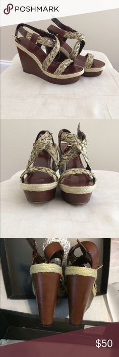 """Wedges Strappy sandal/platform.  Beige /brown with metalic gold. Worn ones.  High heel 4.75"""" but very comfortable. Vince Camuto Shoes Wedges"""