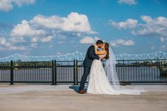 couple on terrace - bridge in background Convention Center Events, Dj Dance, Bridesmaid Dresses, Wedding Dresses, Event Management, Dance Dresses, White Photography, Our Wedding, Bridal