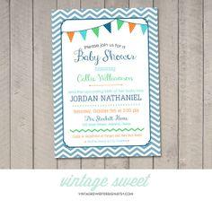 Chevron Baby Shower Invitation DIY Printable by vintagesweetdesign, $12.00