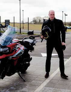 Prince William has a spin on a 1200cc Triumph tiger during his visit to Triumph Motorcycles || 20 February 2018