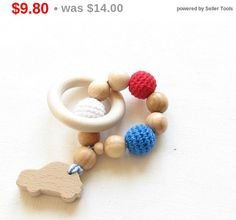 Spring SALE Baby teether toy / Teething ring / Baby by YarnyWishes