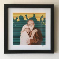 "#portraitart for Tony and Damara. 18"" x 18"" Giclee Print, Matte Black Gallery Moulding. #art #artist #popart #popartist #digitalart #contemporaryart #commissionart #colorfield #Lovers #Couples #jonsavagegallery"