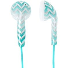 Mint Chevron Ombre Earbuds ($13) ❤ liked on Polyvore featuring accessories, tech accessories and earphones earbuds