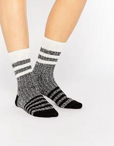 ASOS Mixed Knit Multi Stripe Ankle Socks