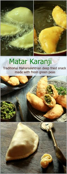Indulgent Maharashtrian snack made using seasonal fresh green peas. Green peas and fresh coconut along with a few other spices are stuffed in a crisp flour pastry/cover and then deep fried till golden brown. Veggie Recipes, Indian Food Recipes, Cooking Recipes, Indian Snacks, Indian Sweets, Veggie Meals, Snacks Recipes, Quick Recipes, Recipies
