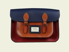 14-inch Three-Tone Satchel made from Pillarbox Red, Loch Blue & London Tan Leather (Ivy League) | The Leather Satchel Co.