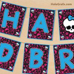 FREE Printable Monster High Birthday Banner