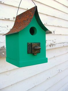 Rustic Birdhouse Old Door Latch Cottage Beach by baconsquarefarm, $38.00