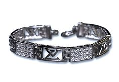 """A stunning sterling silver men's bracelet, featuring a Louis Vuitton replica design, encrusted with sparkling diamond simulants and finished in rhodium for enhanced brilliance. 8"""" Long/25.3 grams. Amazing Eye-Catching Gift for a Glamorous Man. Let The Spark Fall From Heaven; with Ktesios fine Sterling Silver Jewellery. Ktesios jewellery pieces are skillfully designed, finely handcrafted and beautifully finished. They make perfect gifts as most of them are one-off pieces and they..."""