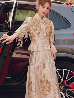 2021 Champagne Sequined Wedding Qun Kwa & Pleated Skirt Custom Made Clothing, Cheongsam, Mandarin Collar, Traditional Wedding, Pleated Skirt, Wedding Ceremony, Champagne, Casual, Skirts