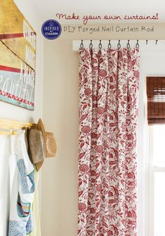 LOVE this idea!! Make your own curtains and hang them from this DIY Forge nail curtain rod. Full DIY and Tutorial.