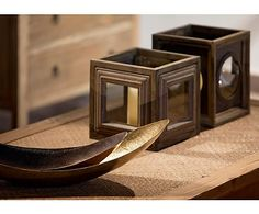 Portavelas de madera de abeto y vidrio – marrón envejecido