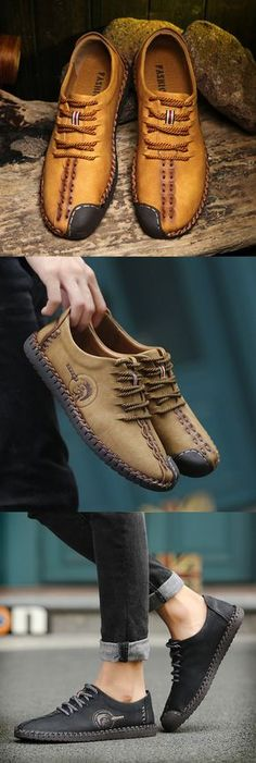 US$35.58 Men British Style Retro Stiching Soft Sole Lace Up Flat Cap-toe Casual Shoes