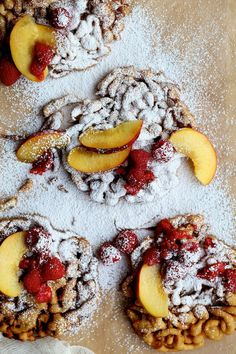 Cinnamon Sugar Funnel Cake with Peaches and Raspberries | Joy the Baker