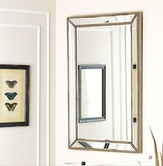 Baek Traditional Rectangle Glass/Wood Wall Mirror