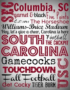 USC Gamecocks Subway Art 11 x 14 canvas by EstSignsFeedsOrphans, $30.00