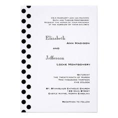 Black and White Polka Dot Wedding Invitation