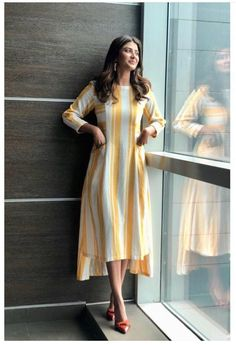 Stylish Dresses For Girls, Stylish Dress Designs, Designs For Dresses, Simple Kurti Designs, Kurta Designs Women, Frock Fashion, Fashion Outfits, Casual Indian Fashion, Casual Frocks