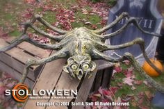 The majority of the props were created from papier mache. Monster mud and faux painting techniques were also used to create the props. One of two large four foot spiders. Halloween Zombie Props, Halloween Yard Displays, Halloween Yard Decorations, Halloween Spider, Halloween 2015, Outdoor Halloween, Halloween Projects, Holidays Halloween, Halloween Themes
