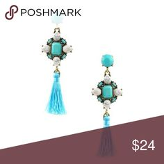 "Alisha Earrings Glass/acrylic stone diamond cotton tassel drop earrings Earring drop length: 2 5/8"" Post back Jewelry Earrings"