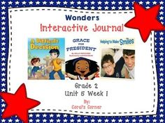 This second grade interactive journal is aligned to Common Core and to the McGraw Hill Wonders series for Unit 5-Week 1. These journal entries allow students to be engaged while reading the text.  These can easily be folded to fit in the students composition books or journals.