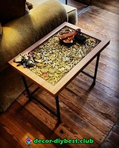 ✔️ 93 Amazing Hand Craft Your Own Coffee Table 10 Wood Resin Table, Epoxy Resin Wood, Wood Table, Resin Furniture, Furniture Projects, Cool Furniture, Bullet Casing Crafts, Bullet Crafts, Diy Wooden Projects
