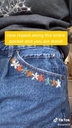 Diy Embroidery Patterns, Hand Embroidery Videos, Hand Embroidery Art, Embroidery On Clothes, Flower Embroidery Designs, Simple Embroidery, Embroidered Clothes, Jean Embroidery, Diy Embroidery Shirt