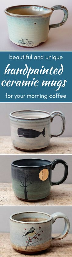 beautiful and unique handpainted cermaic mugs for your morning coffee or tea.   #coffee #bike #mountainbike #whale #coffeetime #morning #goodmorning #aff #etsy