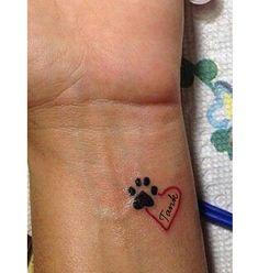 small pawprint heart name tatoo idea. small pawprint heart name tatoo idea. Tatoo Dog, Dog Tattoos, Mini Tattoos, Trendy Tattoos, Get A Tattoo, Small Tattoos, Tattoos For Women, Body Art Tattoos, Tattoo Cat