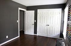 dark hardwood floors dark grey walls white trim and doors Bedroom Wood Floor, Dark Wood Bedroom, White Bedroom, Black Bedrooms, Grey Walls White Trim, Dark Walls, Grey Wood Floors, Wood Flooring, White Flooring