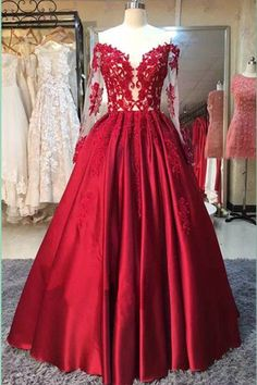 Long Sleeve Dress,Red Stain Prom Dresses with Appliques,Wedding Party Dress N42